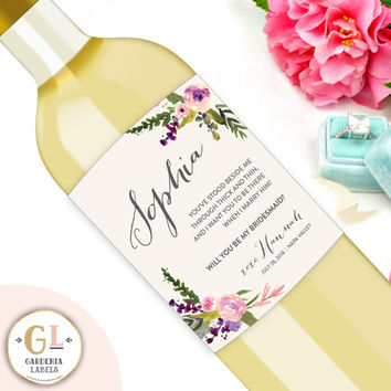Custom Bridesmaid Wine Labels, Bridesmaid Gift, Maid of Honor Proposal, Personalized Will You Be My Bridesmaid Gift, Floral Ask Bridesmaid