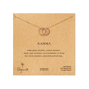 dogeared triple karma ring sparkle chain necklace, 18""
