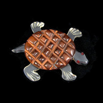 Take it Slow - Vintage 1940s Lucite & Wood Turtle Brooch, Carved with Painted Eyes, Early Plastic Jewelry, Large Chunky Art Deco Pin