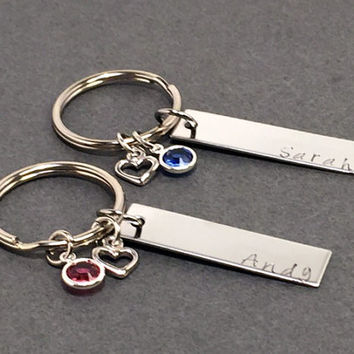 Name Key chains with heart charm and birthstone, Couples Keychains, Bar Key Chain, Valentines Day Gift, Couples Gift Ideas