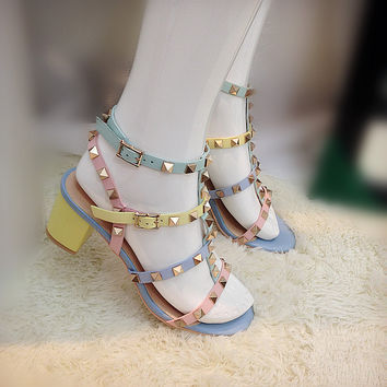 Pastel Strappy Studded Sandals