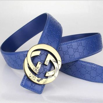 PEAPFN GUCCI Woman Men Fashion Belt Leather Belt Blue Tagre-
