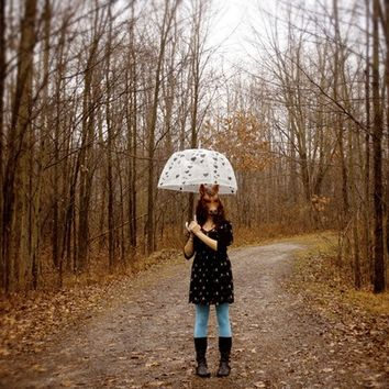 Life as a Horse . 5x7 Fine Art Photography Print . portrait . female . umbrella . rain . weather . woodland . Spring . surreal . home decor