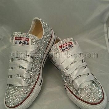 SALE White Low Ox Glass and Pearl Crystal Rhinestone Converse Bling, Sparkle Bride, We