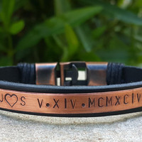 Womens Copper Plate Leather Bracelet Personalized Roman Numeral Custom Quote Leather Jewelry Copper Anchor Clasp Wife Girlfriend Gift