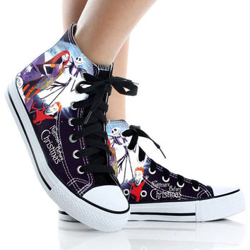 The Nightmare Before Christmas,Shoes Custom,High Top,canvas shoes,Painted Shoes,Special Christmas Gift,Birthday gift,Men Shoes,Women Shoes