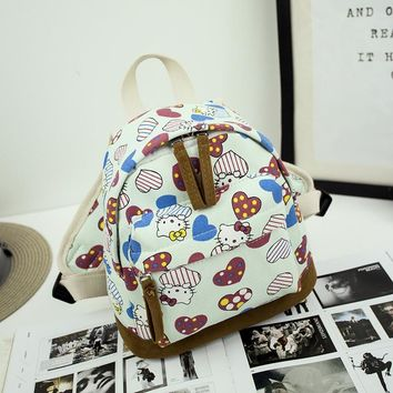 2017 fashion canvas backpack cartoon printing small backpack school bags for girls vintage mini backpack ladies travel backpacks