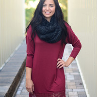 On The Edge Dress - Burgundy