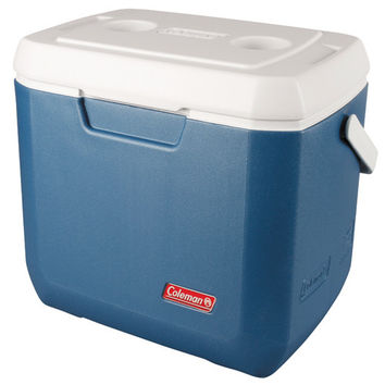 Cooler, 28 Quart Xtra, Blue Overmolded Handle