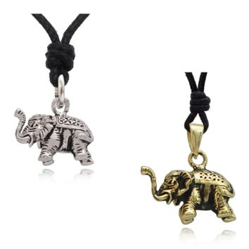 Elephant Pewter Gold Brass Charm Necklace Pendant Jewelry