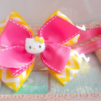 Hello Kitty Yellow Chevron pattern Yellow and pink ribbon Hair Bow Headband Hairband Barrette