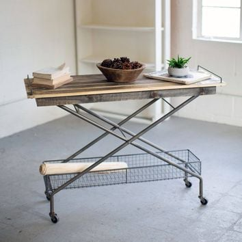 Recycled Wood Console Table with Metal Base, Basket and Casters