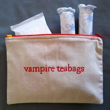 "Indiscreet ""vampire teabags"" Zip Pouch for Tampons, Menstrual Pads, Feminine Products"