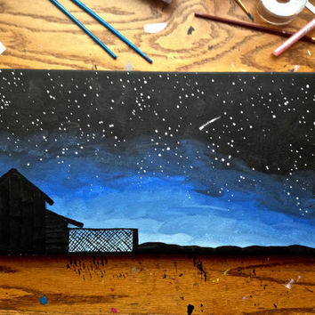 Star Gazing Silhouette Acrylic Canvas Painting