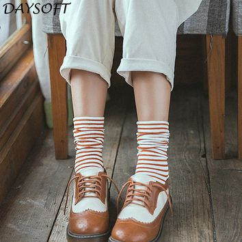 DAYSOFT Autumn Winter Japanese Harajuku Women Socks Meias Colorful Striped Sock Cotton Thick Warm Long Funny Sock Chausettes New