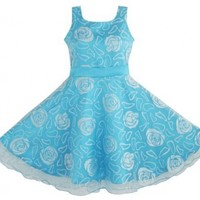 AX45 Sunny Fashion Girls Dress Blue Rose Wedding Pageant Kids Boutique Size 11-12