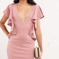 Deep V Neck Ruffle Detail Mini Dress in Pink - AKIRA