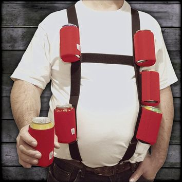 "Six Pack Suspenders with 6 Detachable ""Caught Red-Handed"" 12oz. Can Coolies"