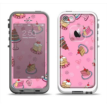 The Pink with Yummy Cakes Apple iPhone 5-5s LifeProof Fre Case Skin Set