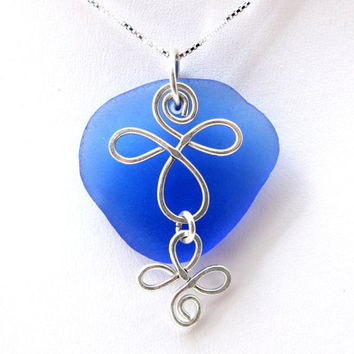Cornflower Blue Celtic Sea Glass Necklace by SeaglassReinvented