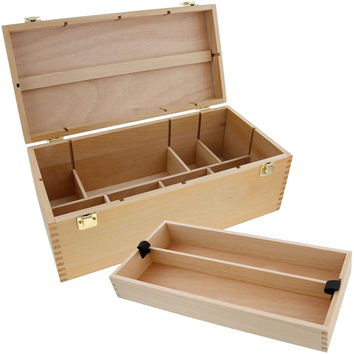 US Art Supply Artist Wood Pastel Pen Marker Storage Box with Drawer(s) (Large Tool Box)