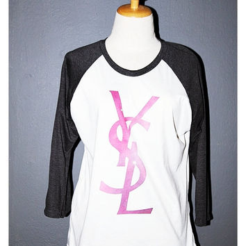YSL Yves Saint Laurent Shirt Space Galaxy 3/4 Sleeve Raglan Baseball Jersey T Shirts Raglan Long Sleeved Unisex Body Fit Size M