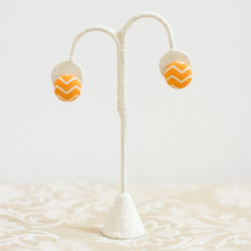 Orange Chevron Button Earrings
