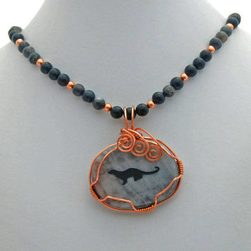 Otter Spirit Animal Picasso Jasper Onyx Natural Stone Necklace