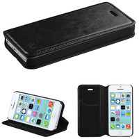 Book-Style Leather Flip-Stand Wallet Case for iPhone 5C - Black