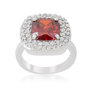Regina Garnet Red Cushion Cut Cocktail Ring | 5ct | Cubic Zirconia | Silver