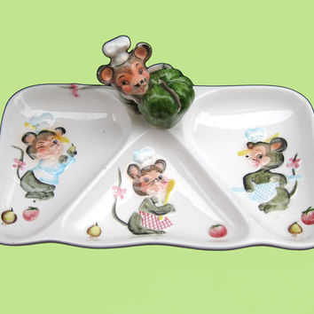 Vintage 50s Mouse Chef Figural Serving Tray - Lefton Appetizer Snack Sectioned Dish Cocktail Party Relish Veggie Three Kitchen Mice China
