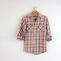 20% OFF SALE Vintage peachy pink and brown plaid ELY Flannel / Grunge Shirt / button up shirt