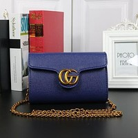 GUCCI Fashion New Leather Shopping More Color Chain Bag Shoulder Bag Blue