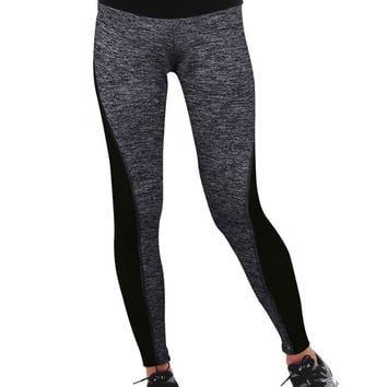 Casual Double-sided Black Gray Stitching Elastic Waist Leggings Sport Yoga Pants Plus Size