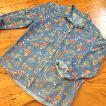 Vintage Fall Autumn Leaves Denim Button Up sz S/M