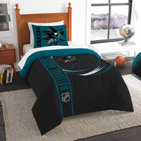 San Jose Sharks NHL Twin Comforter Set (Soft & Cozy) (64 x 86)