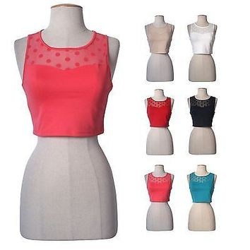 Women Sexy Ponte Sweetheart Polka Dot Sheer Mesh Cropped Cami Tank Top Shirt