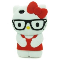 FJX 3D Cartoon Lovely Soft Silicone Black Glasses Hello Kitty Case Protector
