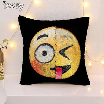 Home Textile Emoji Cushion Cover Reversible DIY Sequin Mermaid Pillow Case Funny Changing Smiley Faces Decorative Pillowcase D28