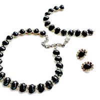 Bogoff Hematite and Rhinestone Necklace Bracelet Earrings Set Mint in Box Signed