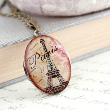 Paris Locket, Eiffel Tower, French Chic, France, Oval, Keepsake, Photo Locket, Long Necklace, Timeless Memories Mementos Secret Hiding Place