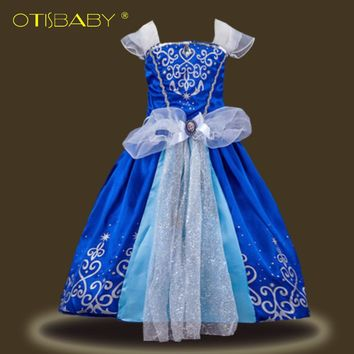 Christmas Aurora Sofia Cinderella Rapunzel Belle Snow White Princess Dresses for Girls Kids Cosplay Costumes for Carnival Party