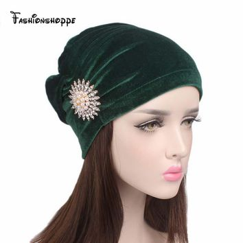 2017 new elegant women velvet turban Chemo beanie Cap hair loss bonnet cap with pearled brooch  YS208