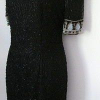 Lawrence Kazar Size Medium Black Beaded Dress Short Sleeve Knee Length