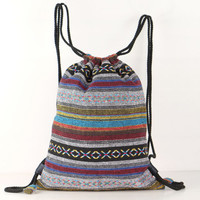 Multi-color Tribal Drawstring backpack/ knapsack Library Bag, Daycare Bag, Beach Bag, Hipster Bike Bag