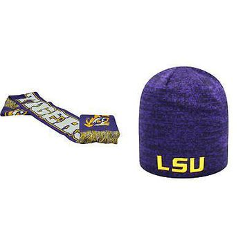 Licensed NCAA LSU Tigers Spirit Scarf And Zero Beanie Hat 2 Pack 84289 KO_19_1