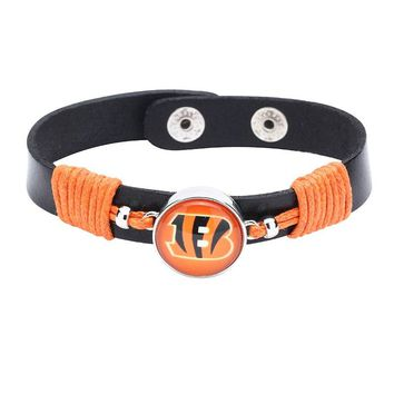 10pcs/lot! Adjustable Premium Leather Ginger Snaps Bracelet with a Cincinnati Bengals 18mm Snap  for Men,Women #1060