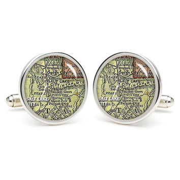Vintage  City  map  Salt Lake  cufflinks , wedding gift ideas for groom,gift for dad,great gift ideas for men,groomsmen cufflinks,