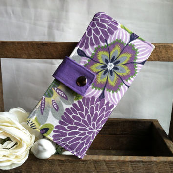 Floral print Womens wallet in purples, card slots, coin pouch, 2 bill slots