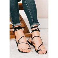 Here For Vacation Toe Ring Lace Up Sandals (Black)